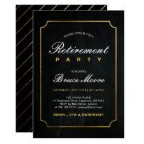 Simple Elegant Gold Surprise Retirement Party Card