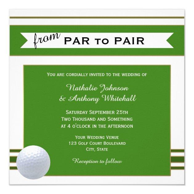 Simple Elegant Golf Theme Wedding Invitation Zazzle