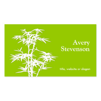 Simple Elegant Green Bamboo Nature Health Spa Business Cards