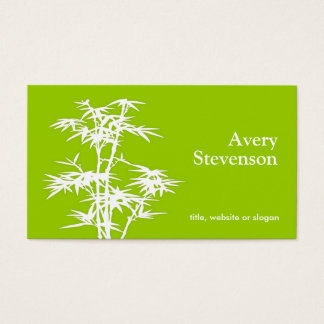 Simple Elegant Green Bamboo Nature Health Spa Business Card