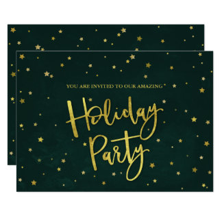 Simple Elegant Green & Gold Stars Holiday Party Card