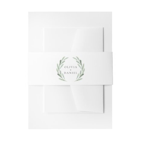 Simple Elegant Green Wreath Rustic Wedding Invitation Belly Band