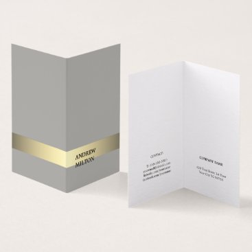 Professional Business Simple Elegant Grey Faux Gold Stripe Consultant Business Card