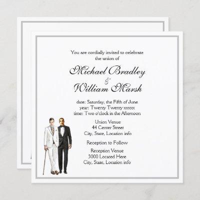 Simple Elegant Groom and Groom Gay White Wedding Invitation
