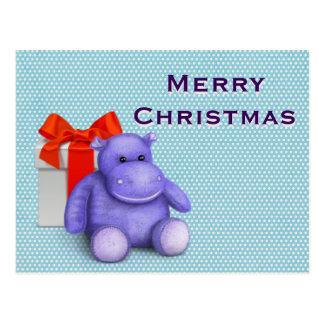 Simple Elegant  Kids Teddy Hippo Merry Christmas Postcard