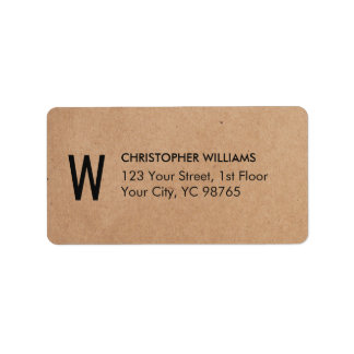 Simple Elegant Kraft Paper Business Monogram Label