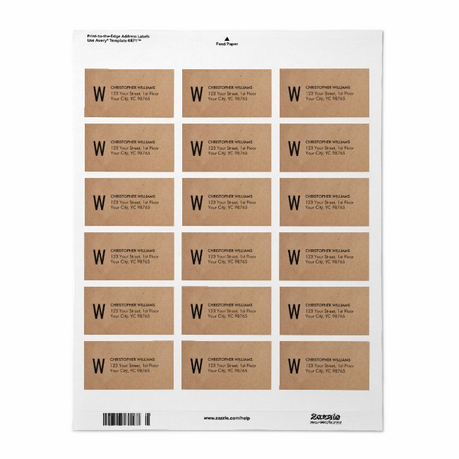 Simple Elegant Kraft Paper Business Monogram Label