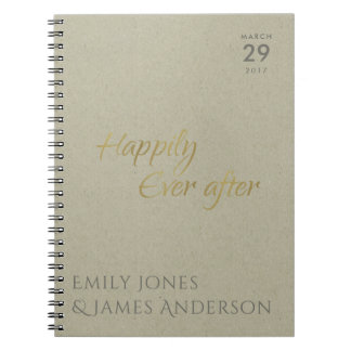 SIMPLE ELEGANT KRAFT TYPOGRAPHY HAPPILY EVER AFTER NOTEBOOK