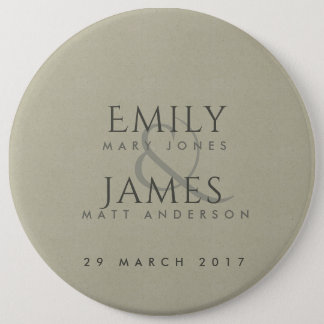 SIMPLE ELEGANT KRAFT TYPOGRAPHY WEDDING TEXT ONLY PINBACK BUTTON