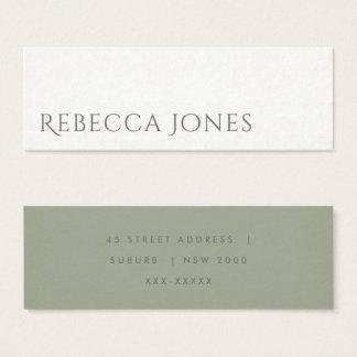 SIMPLE ELEGANT KRAFT WHITE TYPOGRAPHY ADDRESS MINI BUSINESS CARD