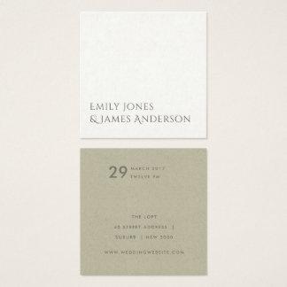 SIMPLE ELEGANT KRAFT WHITE TYPOGRAPHY WEDDING SQUARE BUSINESS CARD