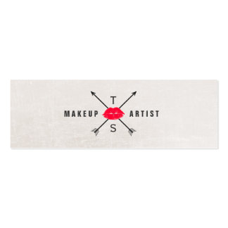 Simple Elegant Makeup Artist Red Kissing Lips Double-Sided Mini Business Cards (Pack Of 20)