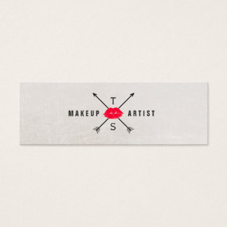 Simple Elegant Makeup Artist Red Kissing Lips Mini Business Card