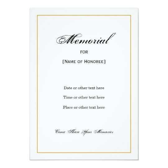 simple elegant memorial invitation zazzle com