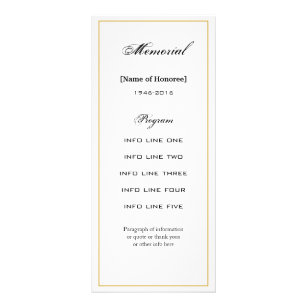 simple elegant memorial service program card