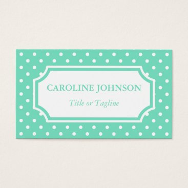 Professional Business Simple Elegant Mint Green White Polka Dot Spots Business Card