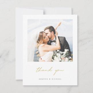 Simple Elegant Modern Gold Script Photo Wedding Thank You Card