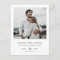 Simple Elegant Modern Photo Wedding Save the Date Invitation Postcard