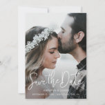 """Simple Elegant Modern Script Photo Save the Date<br><div class=""""desc"""">This simply chic photo wedding save the date flat card has a warm, minimalist design. The front features a lively modern Save the Date text above your first names and date and wedding location. On the back, we've set the background as transparent, so that the color of the paper will...</div>"""