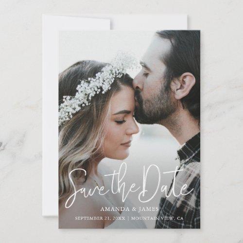 Simple Elegant Modern Script Photo Save the Date