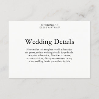 Simple Elegant Modern Script Wedding Details Enclosure Card