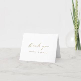 Simple Elegant Modern Typography Gold Wedding Thank You Card
