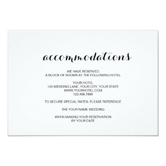 Simple Elegant Modern Wedding Accommodation Card