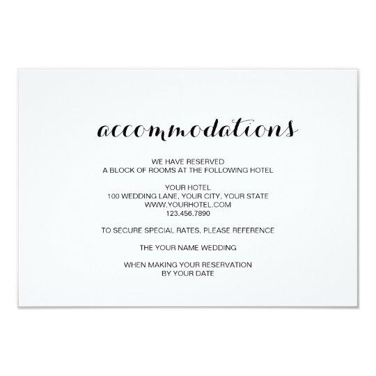 simple elegant modern wedding accommodation card. Black Bedroom Furniture Sets. Home Design Ideas