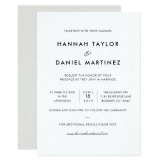 Simple Elegant Modern Wedding Invitation Card