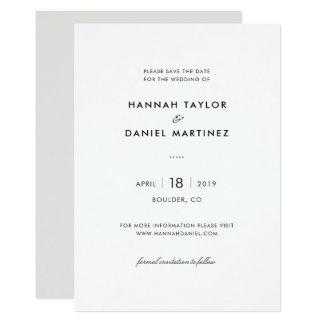 Simple Elegant Modern Wedding Save the Date Card