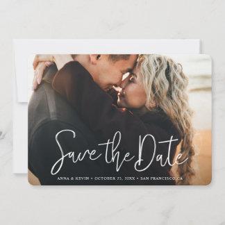 Simple Elegant Modern White Script Photo Wedding Save The Date