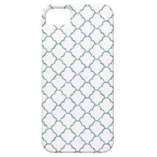 Simple Elegant Moroccan Design in Blue Glitter iPhone 5 Case