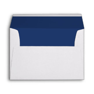 Simple Elegant Navy Blue Lined Wedding Envelope