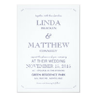 Simple Elegant Navy Blue White Wedding Invitation