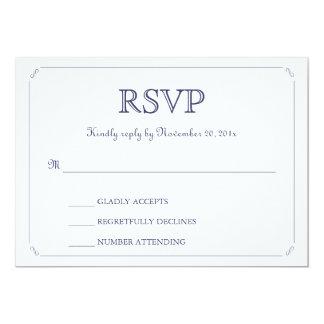Simple Elegant Navy Blue White Wedding RSVP Card