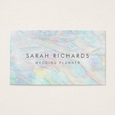 Beach Themed Simple Elegant Opal Wedding Planner Business Cards