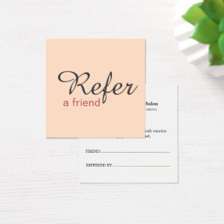 Simple Elegant Pale Pink Referral Card Beauty