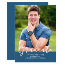 Simple Elegant Photo Graduation Vertical | Blue Card