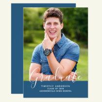 Simple Elegant Photo Graduation Vertical | Blue Invitation