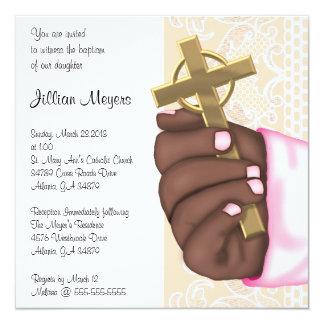 Simple Elegant Pink Cross Baptism/Christening Card
