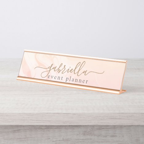 Simple Elegant Pink Peach Marble signature script Desk Name Plate