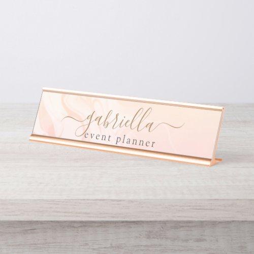 Simple Elegant Pink Peach Marble signature script Desk Name Plate