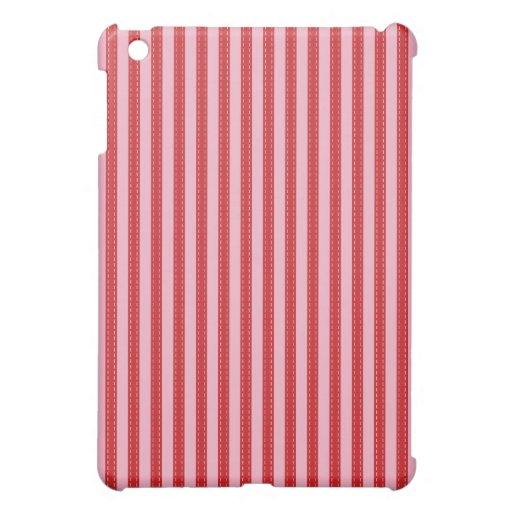 Simple elegant pink & red striped case skin iPad mini covers