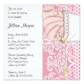 Simple Elegant Pink Rosary Baptism/Christening Card