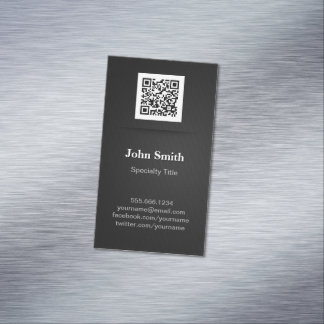 Simple Elegant Plain Black - Professional QR Code Business Card Magnet