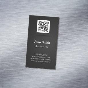 Qr code business cards zazzle simple elegant plain black professional qr code business card magnet colourmoves