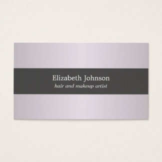 Simple Elegant Purple Grey Striped Hair & Makeup Business Card