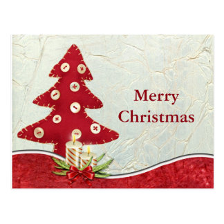 Simple Elegant Red Merry Christmas Tree Decor Postcard