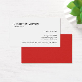 Simple Elegant Red White Consultant Business Card