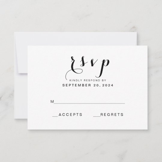 Simple Elegant Script Modern Wedding RSVP Card Zazzlecom